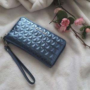 Michael Kors Metallic blue wallet wristlet.